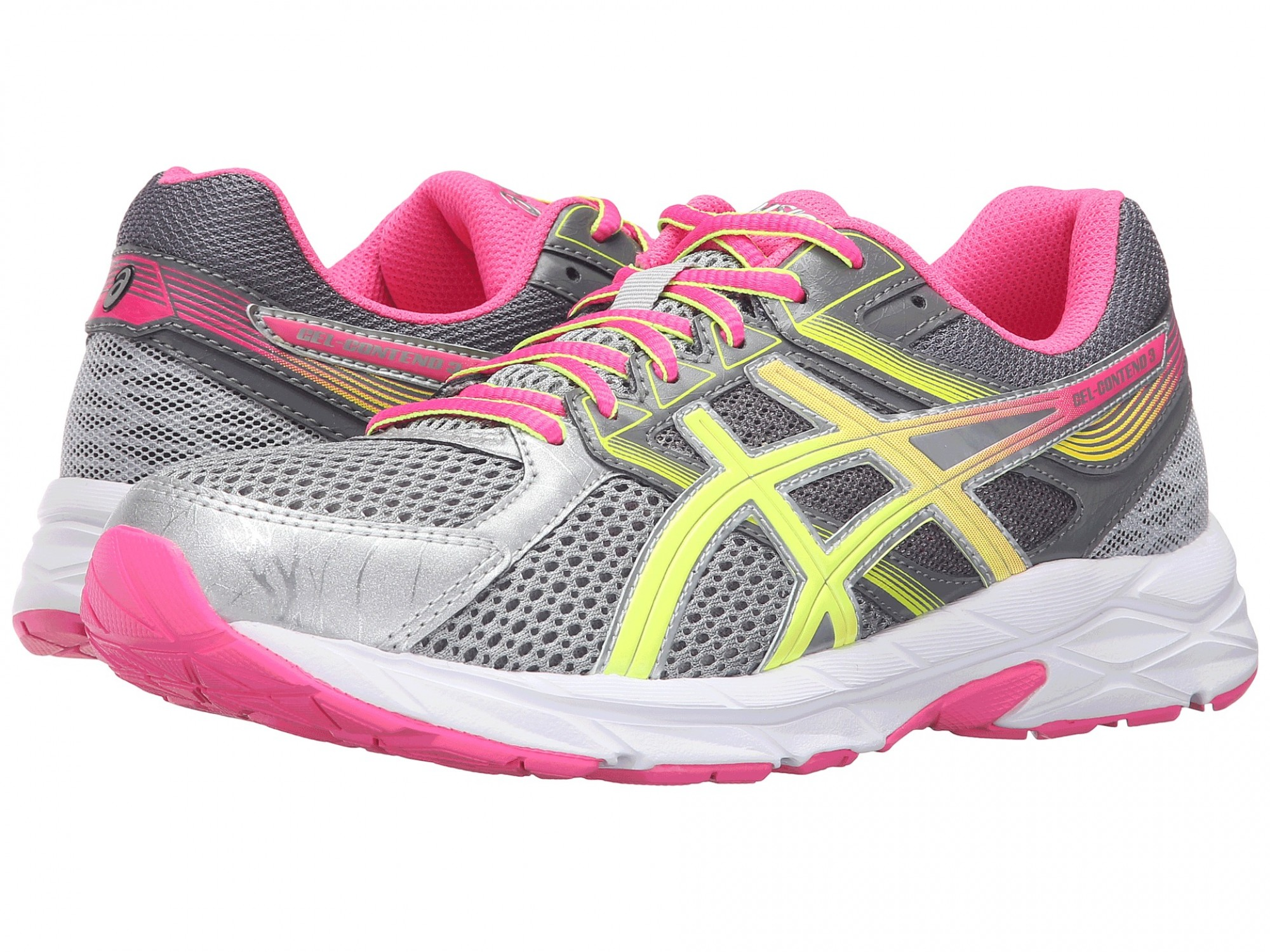 27a671e5d6b1 Женские ASICS GEL-Contend™ 3 (Steel Grey Safety Yellow Hot Pink ...
